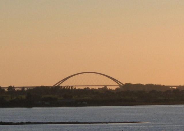 Blick auf die Fehmarnsundbrücke aus der Ferienwohnung Grande am Südstrand von Fehmarn