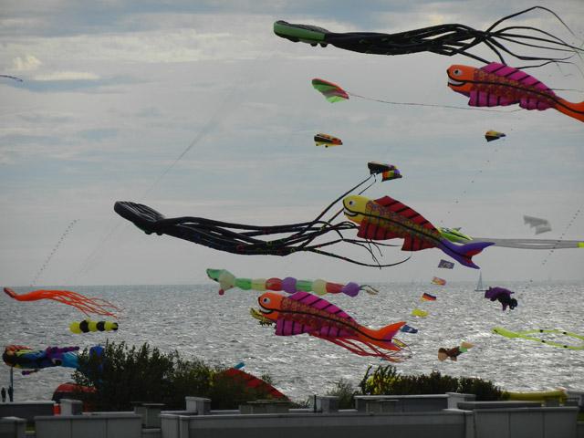 Blick auf das Drachenfest aus der Ferienwohnung Grande am Südstrand von Fehmarn