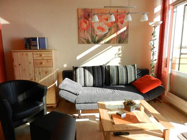 Wohnbereich mit tollem Meerblick Ferienwohnung Piccolo Seiss am Südstrand von Fehmarn