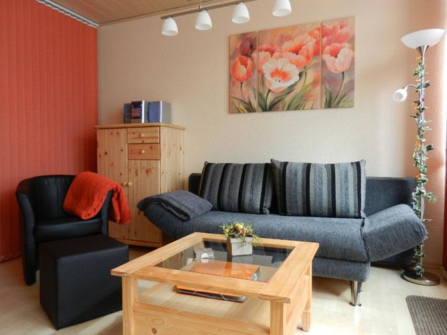Fehmarn Südstrand Ferienwohnung Piccolo Seiss Sofa mit tollem Meerblick