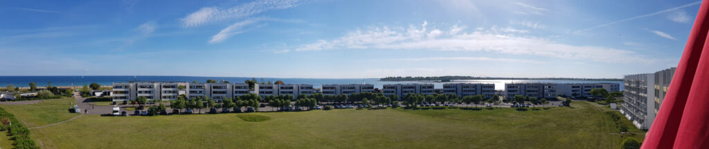 Panoramablick aus der Ferienwohnung Grande am Südstrand von Fehmarn